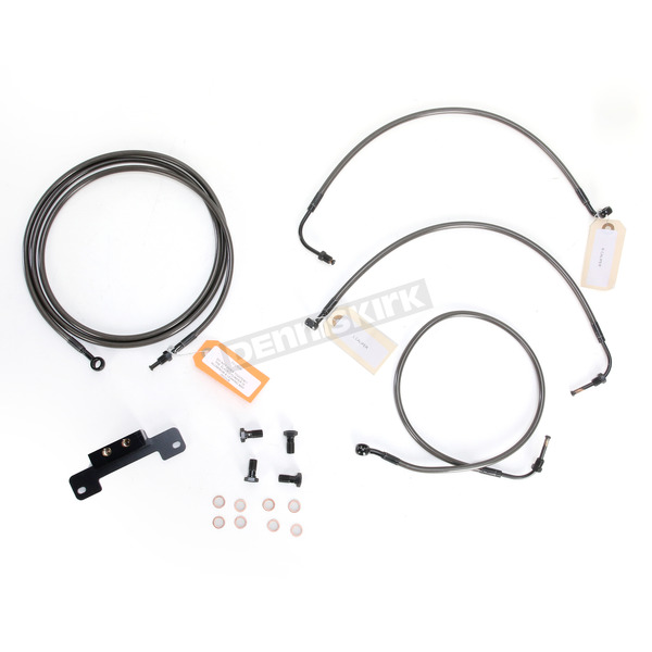 LA Choppers Midnight Stainless Handlebar Cable and Brake Line Kit for Use w/18 in. - 20 in. Ape Hangers (w/o ABS) - LA-8012KT-19M