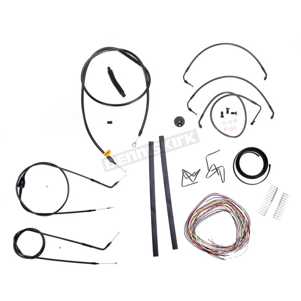 LA Choppers Midnight Stainless Handlebar Cable and Brake Line Kit for Use w/18 in. to 20 in. Ape Hangers (w/o ABS) - LA-8006KT2B-19M