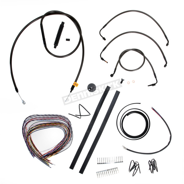 LA Choppers Midnight Stainless Handlebar Cable and Brake Line Kit for Use w/12 in. to 14 in. Ape Hangers w/o ABS - LA-8010KT2-13M