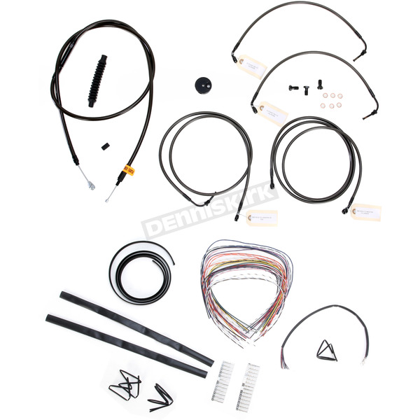 LA Choppers Midnight Stainless Handlebar Cable and Brake Line Kit for Use w/18 in. to 20 in. Ape Hangers w/ABS - LA-8050KT2-19M