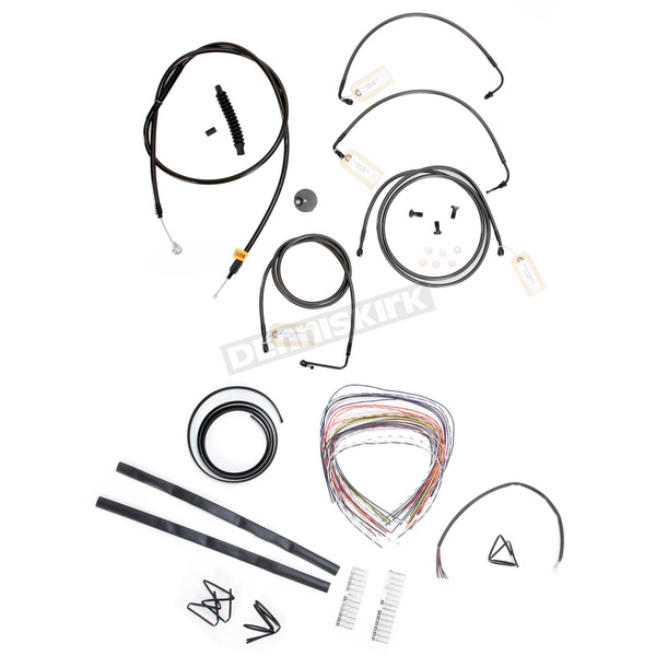 LA Choppers Midnight Stainless Handlebar Cable and Brake Line Kit for Use w/Mini Ape Hangers w/ABS - LA-8051KT2-08M