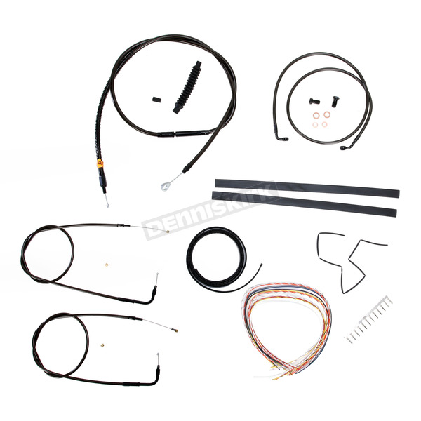 LA Choppers Midnight Stainless Handlebar Cable and Brake Line Kit for Use w/12 in. to 14 in. Ape Hangers (w/o ABS) - LA-8100KT2-13M