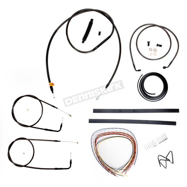 LA Choppers Midnight Stainless Handlebar Cable and Brake Line Kit for Use w/18 in. to 20 in. Ape Hangers (w/o ABS) - LA-8110KT2A-19M