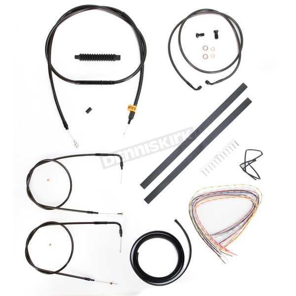LA Choppers Midnight Stainless Handlebar Cable and Brake Line Kit for Use w/Mini Ape Hangers (w/o ABS) - LA-8130KT2-08M