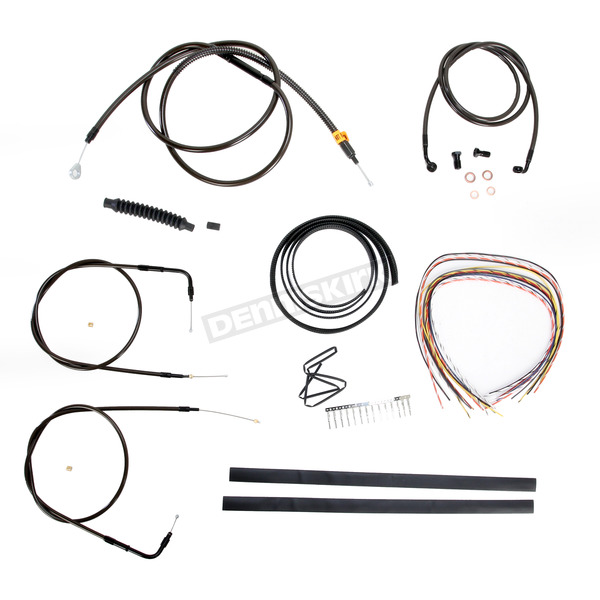 LA Choppers Midnight Stainless Handlebar Cable and Brake Line Kit for Use w/18 in. to 20 in. Ape Hangers (w/o ABS) - LA-8140KT2-19M