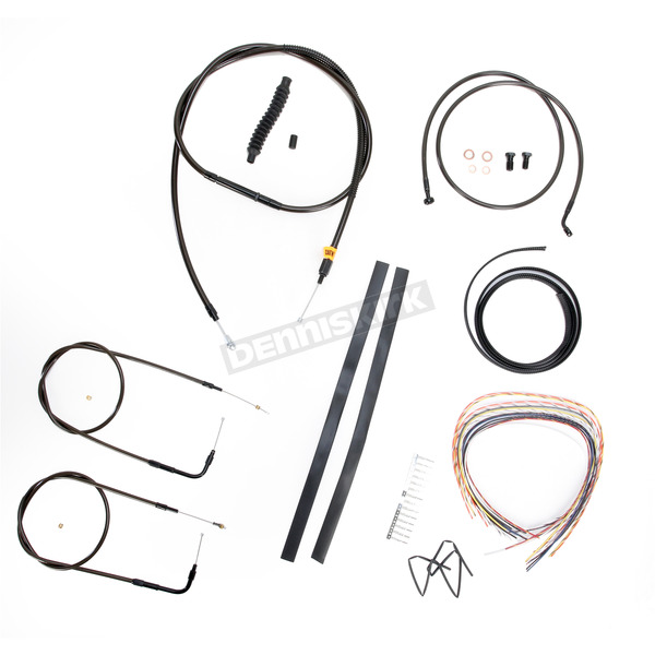 LA Choppers Midnight Stainless Handlebar Cable and Brake Line Kit for Use w/15 in. to 17 in. Ape Hangers (w/o ABS) - LA-8210KT2A-16M