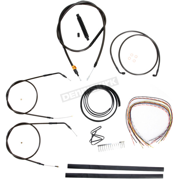LA Choppers Midnight Stainless Handlebar Cable and Brake Line Kit for Use w/Cafe Ape Hangers w/o ABS - LA-8320KT2A-0CM