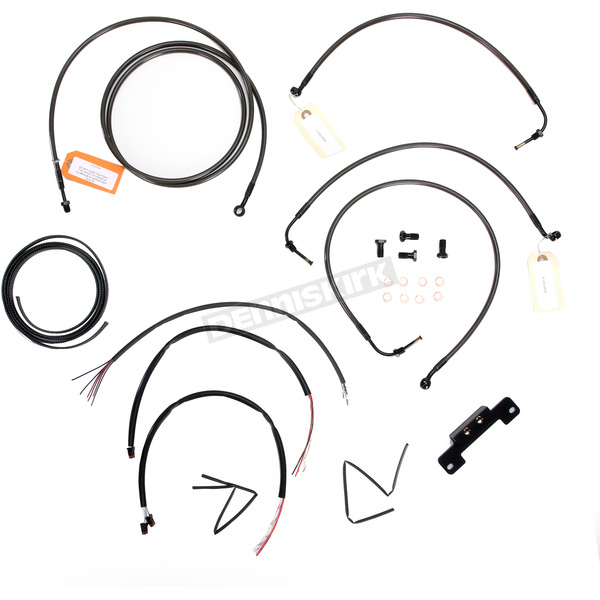 LA Choppers Midnight Stainless Handlebar Cable and Brake Line Kit for Use w/Mini Ape Hangers w/o ABS - LA-8012KT2-08M