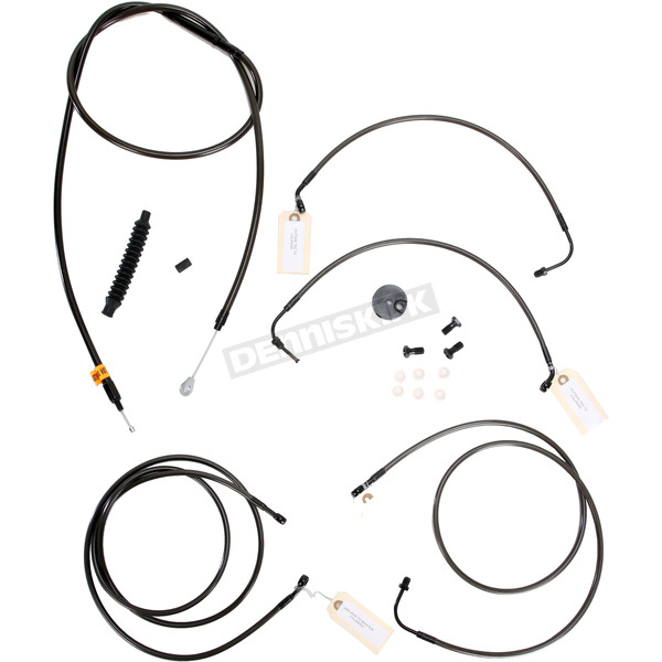 LA Choppers Midnight Stainless Handlebar Cable and Brake Line Kit for Use w/15 in. - 17 in. Ape Hangers w/ABS - LA-8050KT-16M