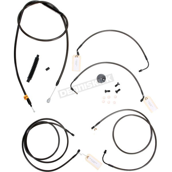 LA Choppers Midnight Stainless Handlebar Cable and Brake Line Kit for Use w/18 in. - 20 in. Ape Hangers w/ABS - LA-8050KT-19M