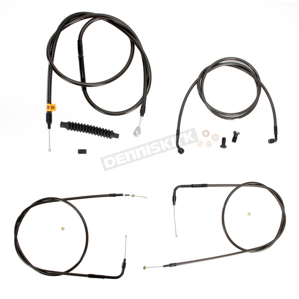 LA Choppers Midnight Stainless Handlebar Cable and Brake Line Kit for Use w/12 in. to 14 in. Ape Hangers (w/o ABS) - LA-8140KT-13M