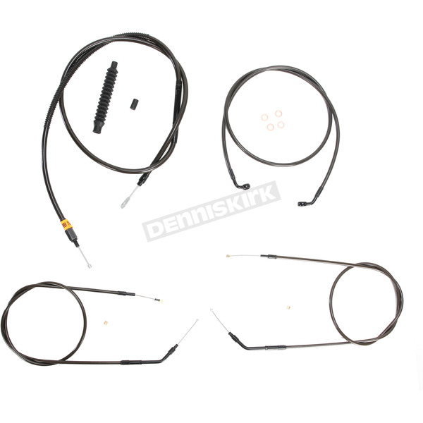 LA Choppers Midnight Stainless Handlebar Cable and Brake Line Kit for Use w/Mini Ape Hangers (w/o ABS) - LA-8320KT-08M