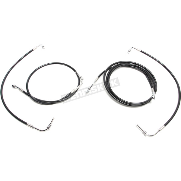 LA Choppers Standard Black Vinyl/Stainless Cable and Brake Line Kit for use w/Mini Ape Hangers w/o ABS - LA-8055KT-08B