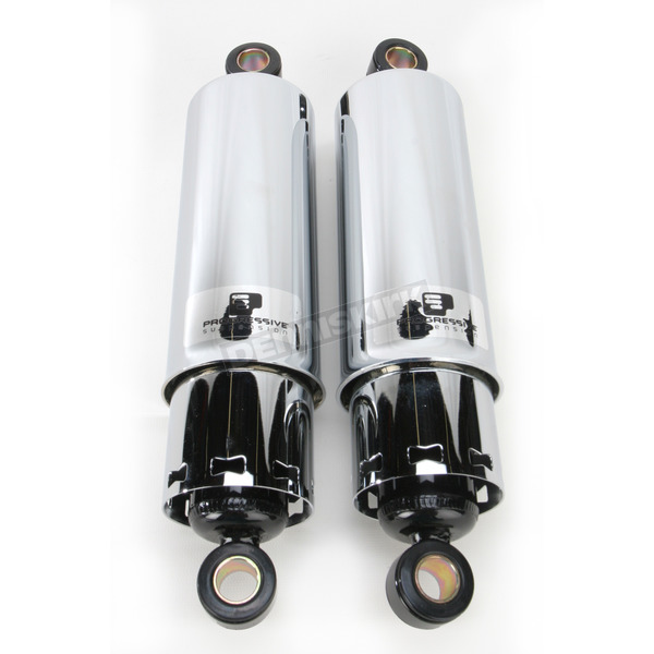 Progressive Suspension Chrome 412 Series American-Tuned Gas Shocks w/ Covers - 90/130 Spring Rate (lbs/in) - 412-4070C
