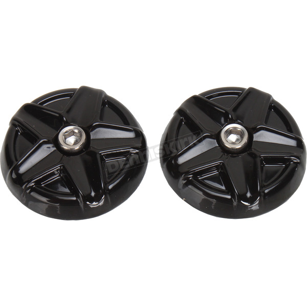 Kuryakyn Black/Chrome Five-Spoke End Caps for Knetic Grips  - 6357