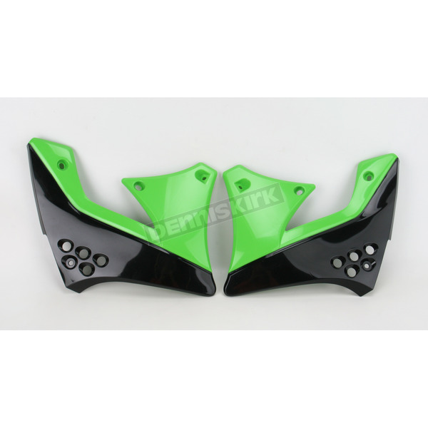Acerbis Black/Green 10 Radiator Shrouds - 2141721043