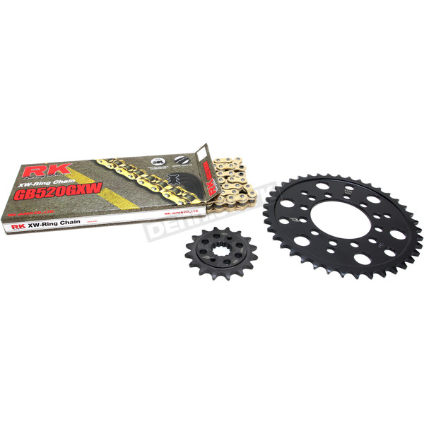 RK Gold Kawasaki GB520GXW Acceleration Chain with Steel Sprocket - 2108-069PG