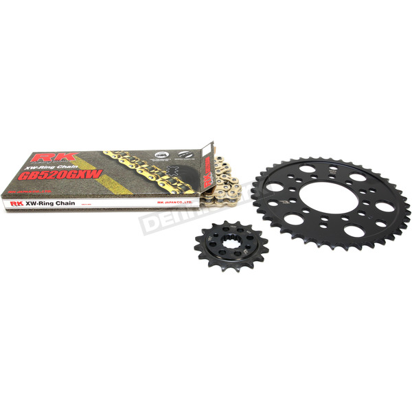 RK Gold Kawasaki GB520GXW Acceleration Chain with Steel Sprocket - 2108-089PG