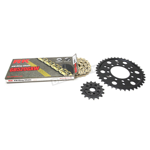 RK Gold Kawasaki GB520GXW Acceleration Chain with Steel Sprocket - 2108-119PG