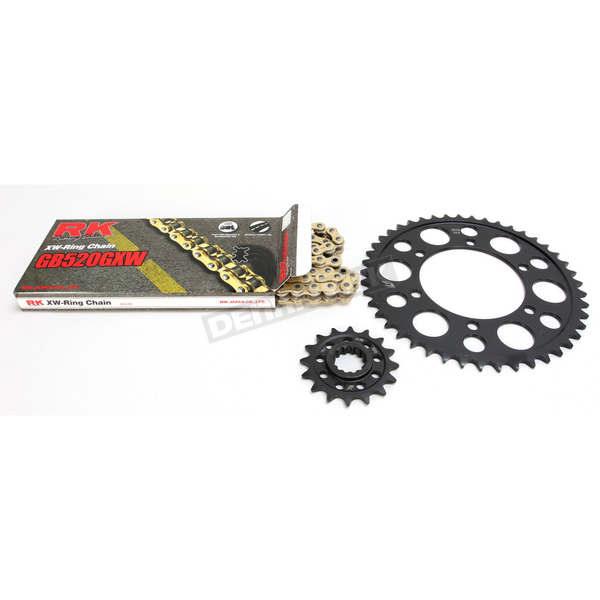 RK Gold Yamaha GB520GXW Acceleration Chain with Steel Sprocket - 4107-069PG