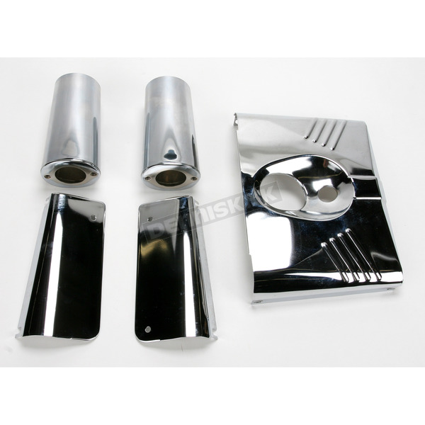 Drag Specialties Five-Piece Chrome Fork Tins with Slider Covers - DS-222911