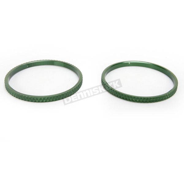 Kuryakyn Green Knurled Accent Rings for ISO Grips - 6225