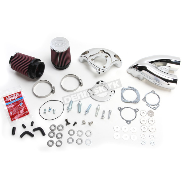 S&S Cycle Chrome Single Bore Tuned Induction Air Cleaner Kit w/Red Filter - 170-0308A