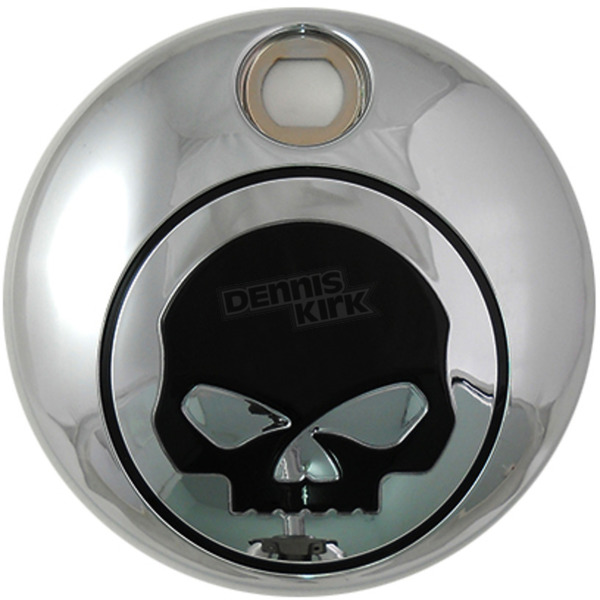 V-Twin Manufacturing Chrome/Black Skull Fuel Tank Console Door - 38-0601