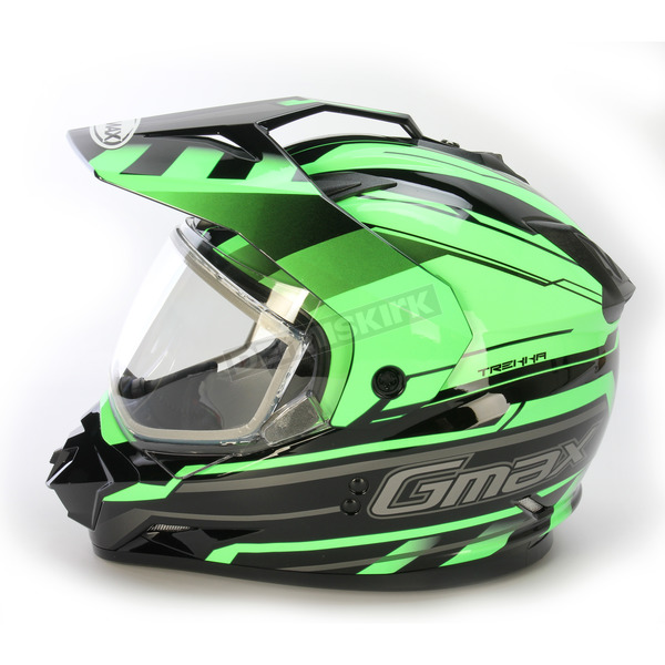 GMax Black/Hi-Viz Green GM11S Trekka Snow Sport Snowmobile Helmet - 72-7134M