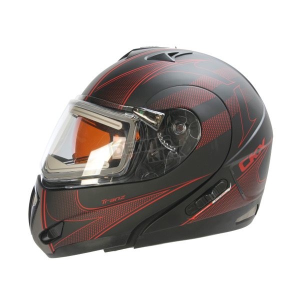 CKX Matte Black/Red/Gray Tranz RSV Tribe Modular Snow Helmet w/Electric Shield - 505516