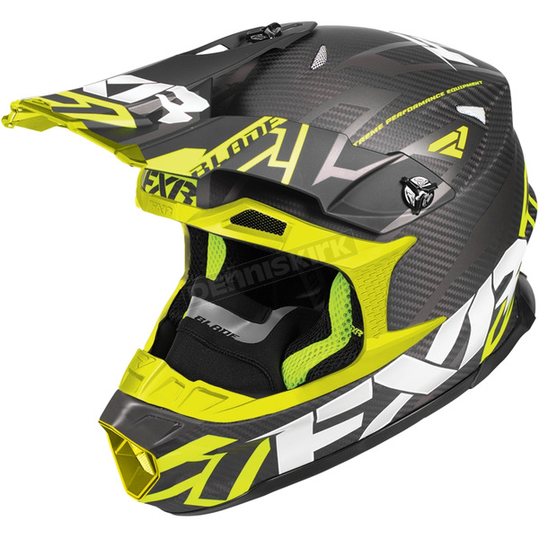 FXR Racing Black/Hi-Vis Blade Carbon Vertical Helmet - 180601-1065-16