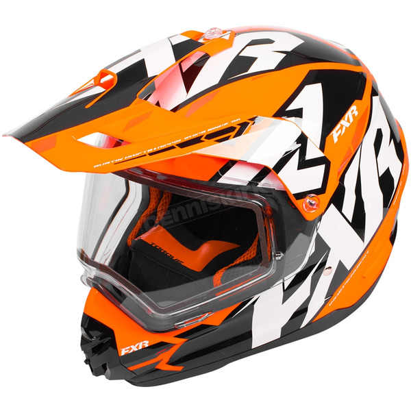 FXR Racing Black/Orange/White Torque X Core Helmet w/Electric Shield - 180610-1030-13