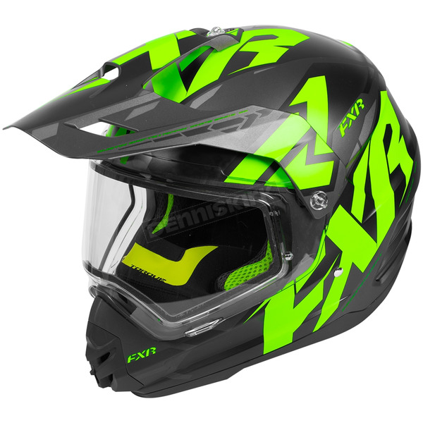 FXR Racing Black/Lime/Charcoal Torque X Core Helmet w/Electric Shield - 180610-1070-16