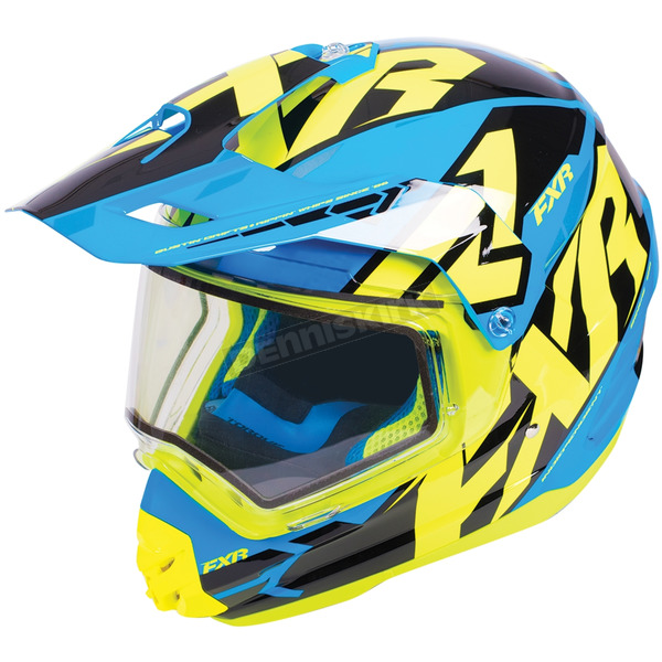 FXR Racing Blue/Hi-Vis/Black Torque X Core Helmet w/Electric Shield - 180610-4065-19