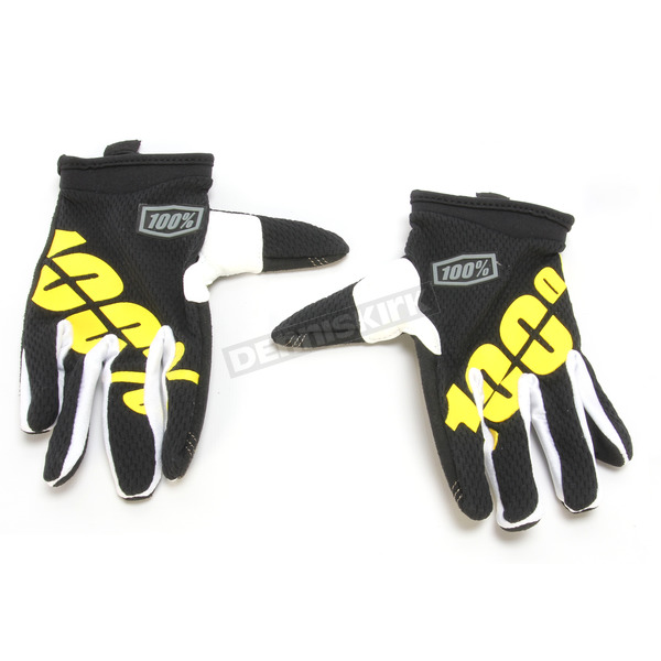 100% Youth Black/Yellow I-Track Gloves - 10002-014-05