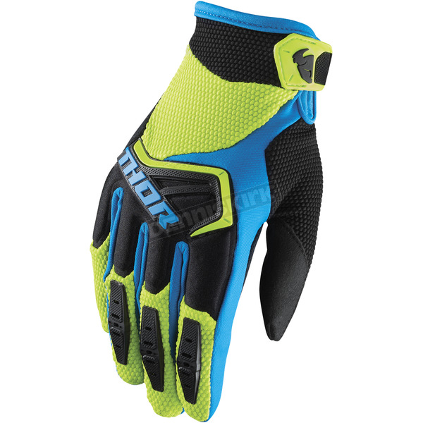 Thor Youth Green/Black/Blue Spectrum Gloves - 3332-1208