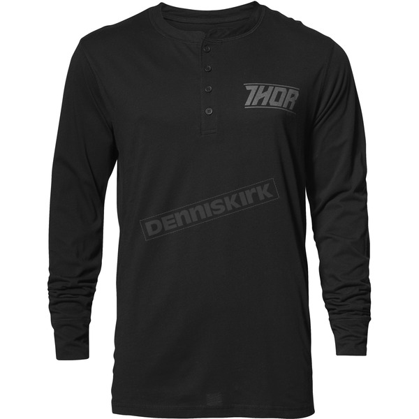 Thor Mens Black Corp Henley Long Sleeve Shirt - 3030-16100