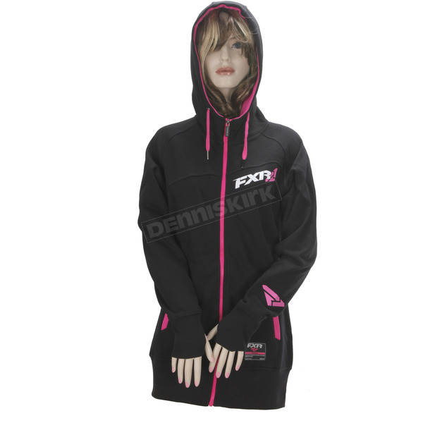 FXR Racing Women's Black/Fuchsia Vertical Long Hoody - 171416-1090-19