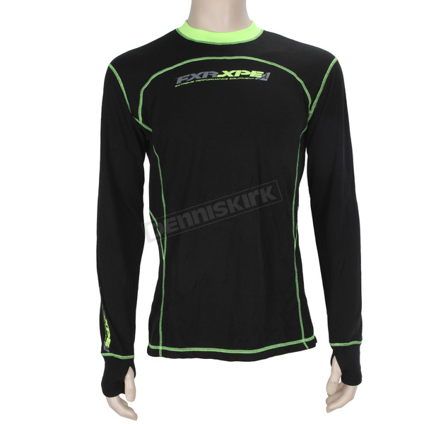 FXR Racing Black/Hi-Vis Vapour 20% Merino Long Sleeve Top - 171100-1065-19