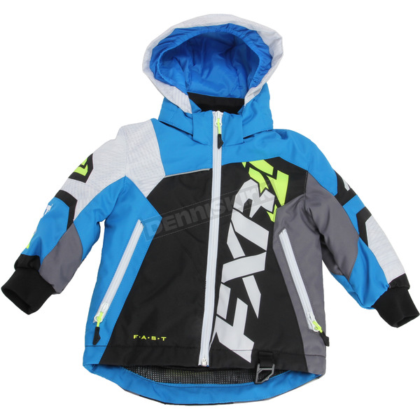 FXR Racing Child's Black/White Weave/Blue Revo X Jacket - 170411-1040-06