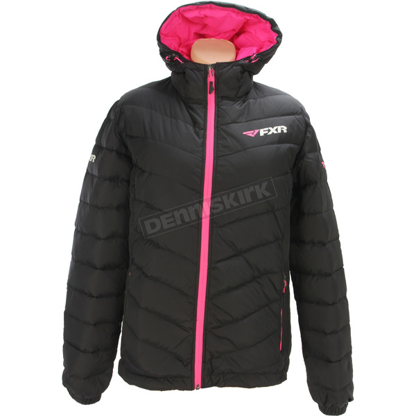 FXR Racing Women's Black/Electric Pink Elevation Down Jacket - 170218-1094-14