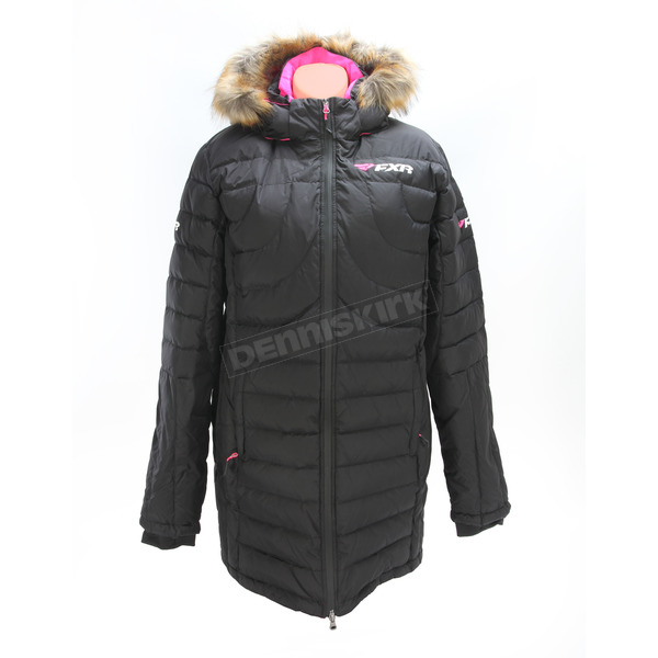 FXR Racing Women's Black/Electric Pink Fuze Long Down Jacket - 170217-1094-10