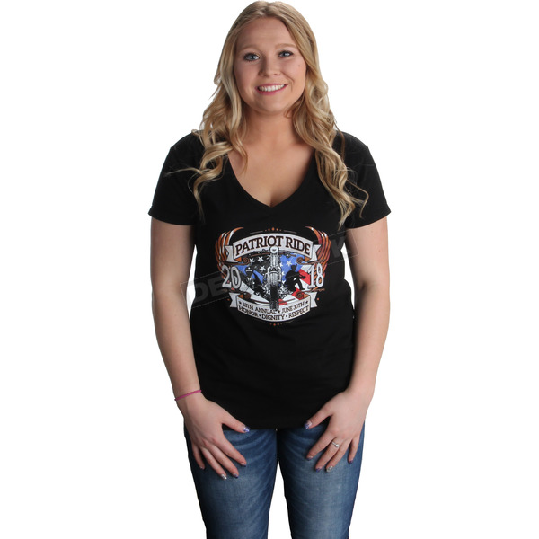 Dennis Kirk Inc. Black 2018 Patriot Ride Womens V-Neck T - 8650-2X
