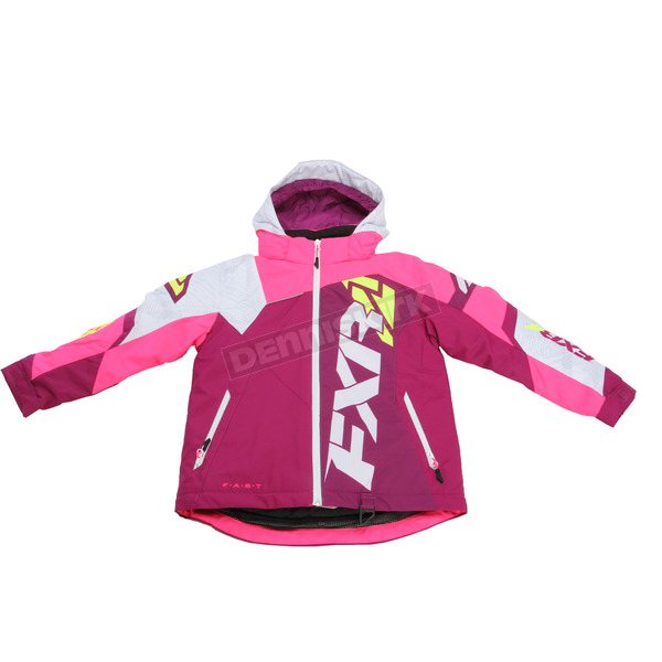 FXR Racing Youth Wineberry/White Weave/Electric Pink Revo X Jacket - 170406-8594-12