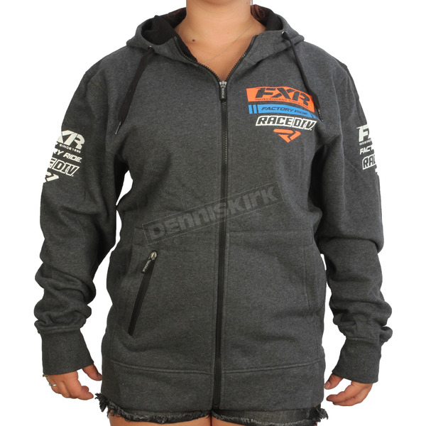 FXR Racing Charcoal Heather/Orange Race Division Zip Hoody - 173320-0630-10