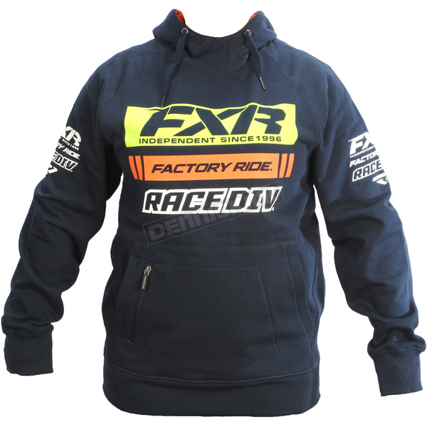 FXR Racing Navy/Orange Race Division Pullover Hoody - 173321-4530-13
