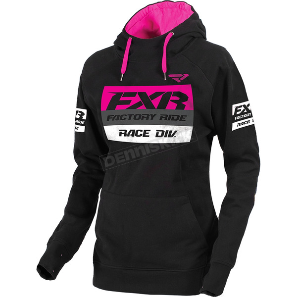 FXR Racing Women's Black/Fuchsia Race Division Pullover Hoody - 173326-1090-07