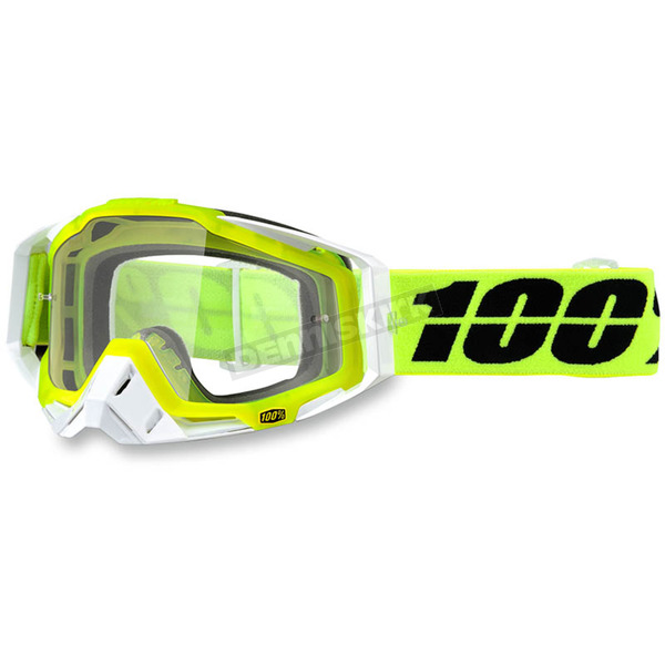 100% Solar Yellow Racecraft Goggle w/Clear Lens - 50100-157-02