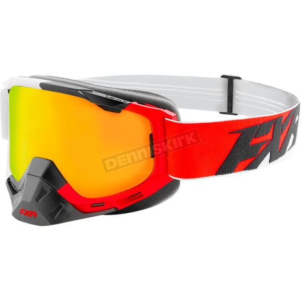 FXR Racing Red/White/Black Boost XPE Goggle w/Smoke Lens w/ Solar Finish - 183100-2001-00