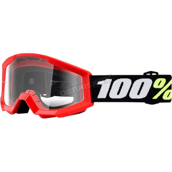 100% Strata Youth Mini Grom Red Goggle w/Clear Lens - 50600-003-02